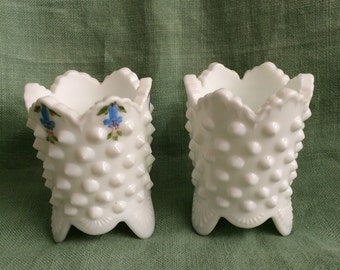Fenton HobnIl White Milk Glass tooth pick candle holder 1960's