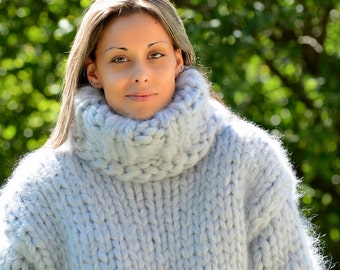 READY to SHIP 20 strands Hand Knit Mohair Sweater Gray Mega Thick Turtleneck Jumper Pullover by EXTRAVAGANTZA