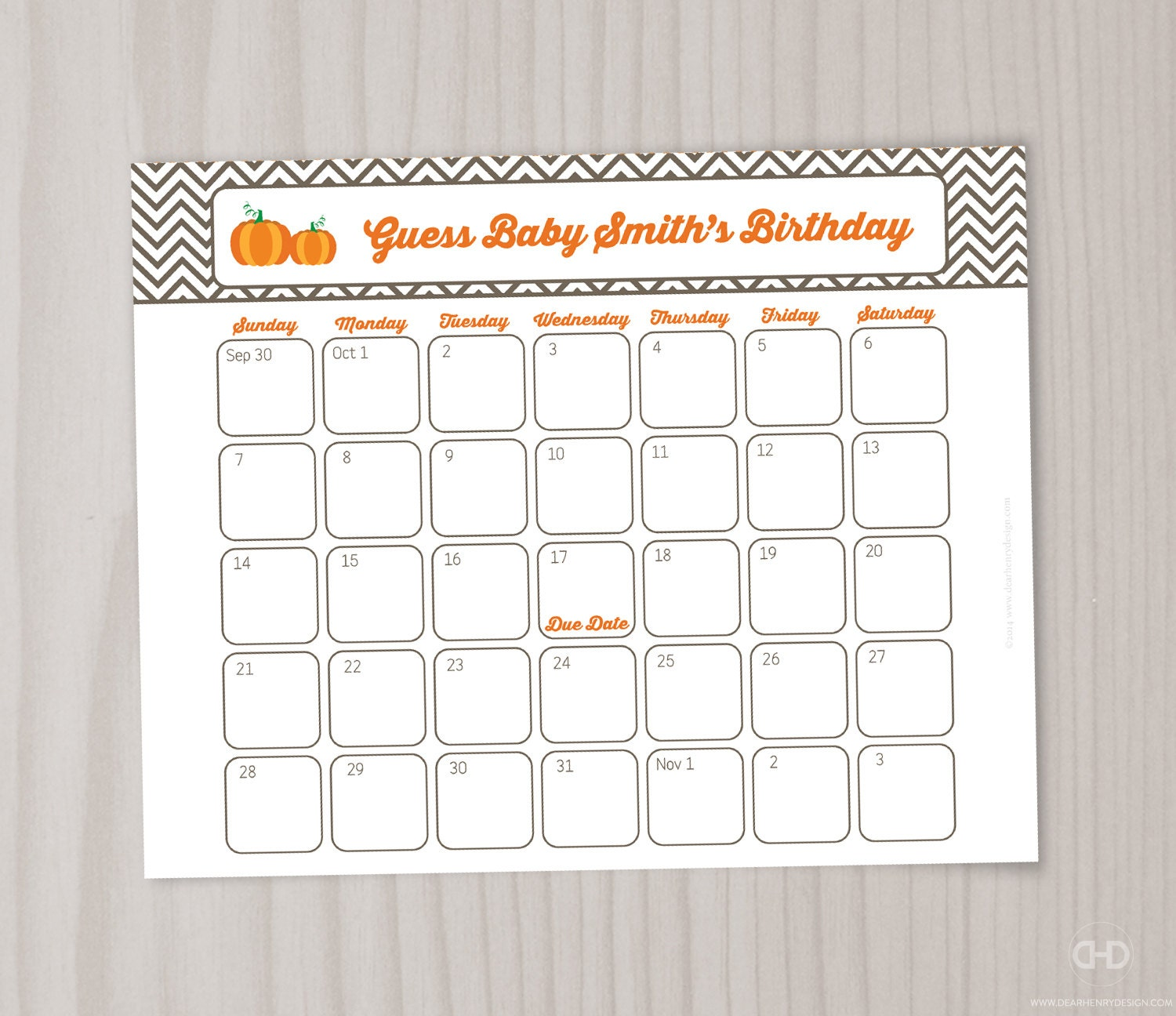 Guess The Birth Date Baby Shower Game: Little Pumpkin Guess Baby's Birthday Due Date Calendar