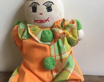 Vintage Clown Folk Art Sock Rag Doll