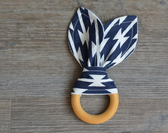 Wooden Baby Teething Ring - Bunny Ears Navy and White Baby Teether