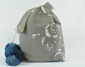 Large Knitting project bag - Crochet project bag - Japanese Knot Bag/Purse/Tote  - Cotton – Gift – Present - Roses
