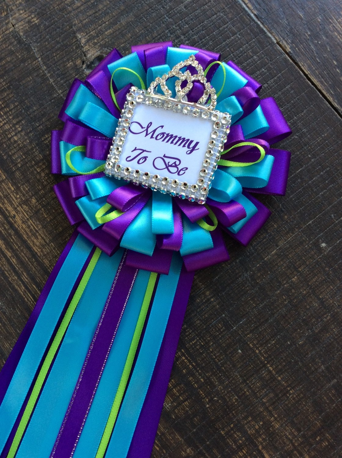 Purple And Turquoise Mommy Corsage Purple And Turquoise Pin