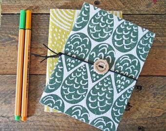 Raindrops hand printed organic cotton notebook