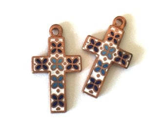 2x Vintage Blues & White Enamel Copper Crosses - M092-B