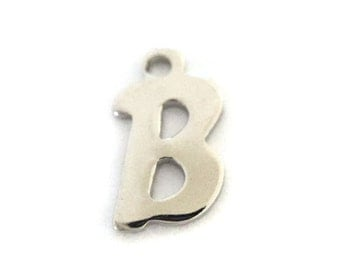 """5x Silver Plated Letter """"B"""" Initial Charms - M121-B"""