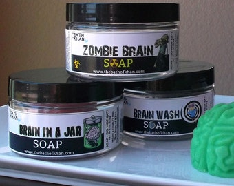 Halloween Party Favors - Halloween Soap, Brain Soap, Halloween Favors, Brain in a Jar, Halloween Decor, Halloween Gift, Non Candy Treat