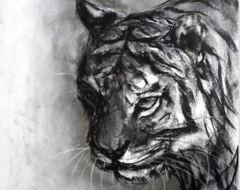 Hunter charcoal drawing giclee art print by Fiona Tang