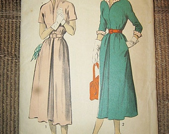 Advance Dress Pattern From The Forties Or Fifties, Size 14, Pattern #5406,Long Or Short Sleeve, Shirtdress Style, Vintage Pattern