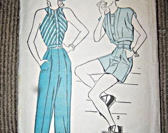 Vintage Advance Pattern From The 40's, Bolero, Halter, Shorts And Slacks Pattern, Size 14, Unprinted Pattern,