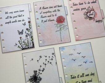 Pocket Size Filofax 'Quotes' dividers - handmade and laminated