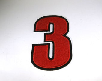 "Iron-on ""number 3"", applique, application"
