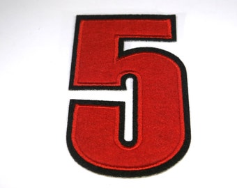 """Iron-on """"number 5"""", applique, application"""