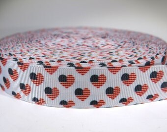 "5 yards of 7/8 inch ""USA flag hearts"" grosgrain ribbon"