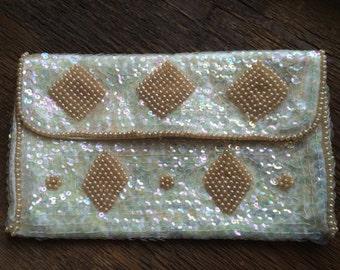 Vintage La Regale Sequin and Faux Pearl Clutch/Evening Bag