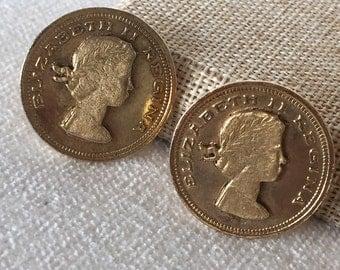 SALE Vintage 1950s Elizabeth II Regina Coin Clip on Earrings