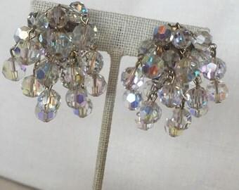 SALE Vintage Aurora Borealis Clip On Earrings