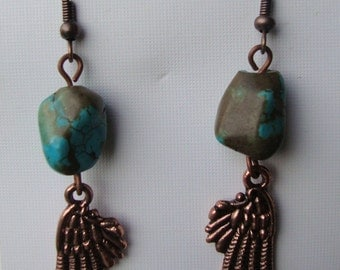 Earrings, angel wing, copper angel wing charms, turquoise jewelry, dangle earrings, boho jewelry, angel wing earrings