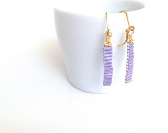 Chic purple earrings, lilac bead earrings, dainty drop earrings