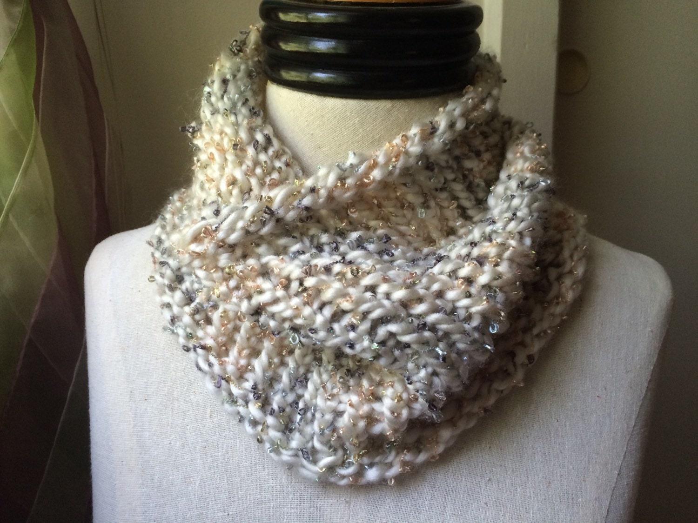White Metallic Loom Knit Cowl Neck Scarf E10190947031709617m