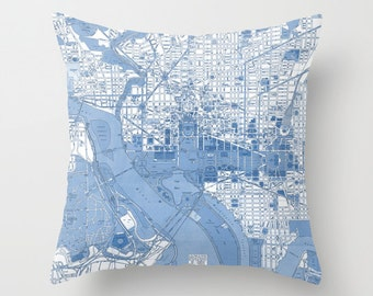 Washington DC Throw Pillow - Street Map - retro - blue and white United States Capital  decor, travel, lapis,blue, den, dorm, bedroom