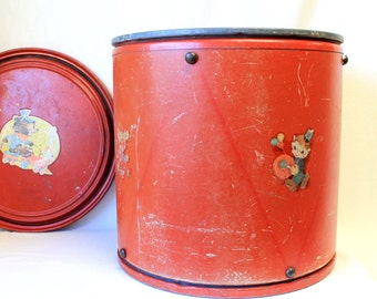 1950s Nursery Large Storage Drum, Red Toy Bin, Retro Toy Chest, Vintage Large Red Drum