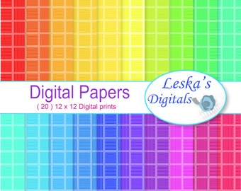 Checkerboard digital paper, Rainbow checkered paper background, checker board scrapbook - Scrapbook party paper, Party rainbow invites
