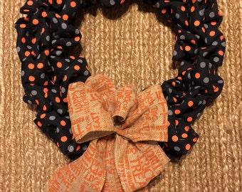 Burlap polka dot Halloween Weeath with Trick-Or-Treat bow