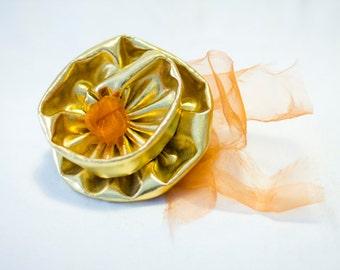 Gold & Orange Hair Fascinator, Metallic, Orange Chiffon