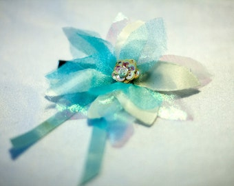 Child Size Frozen Inspired Hair Clip Fascinator in Blue and White, Satin, Organza, Sequins