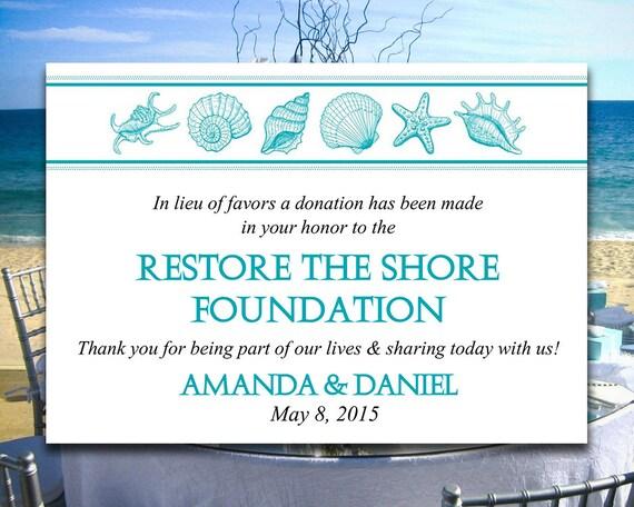 Beach Wedding Favor Donation Card Template   Seashell Wedding Charity Favor Donation  Card     Donation Card Template