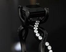 Black Ring Womens Black Gold Filled Rings Wedding Band Princess Cut CZ Diamonds Swirl Design Paris