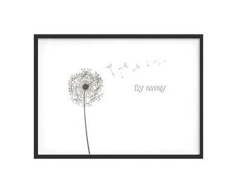 Monochrome print dandelion theme, horizontal cut