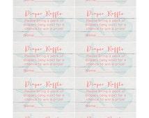 unisex diaper raffle card, printable diaper raffle card, baby shower game, baby shower unisex, jack and jill, beach baby shower, aqua coral