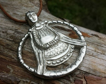 Handmade Freya necklace. Sterling silver. Norse Goddesses