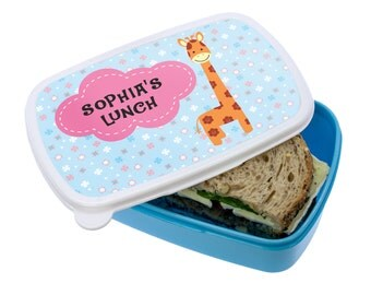 Cute Giraffe Lunch Box - Girl's & Boy's Lunch Box - Made to Order - Custom - Personalized - Children's Lunch Box - FREE UK DELIVERY!