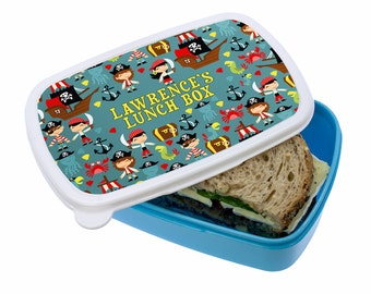 Playful Pirates Lunch Box - Girl's & Boy's Lunch Box - Made to Order - Custom - Personalized - Children's Lunch Box - FREE UK DELIVERY!