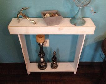 Skinny Distressed White Hallway Shelf, Entryway Shelf, Skinny Cedar Table, Narrow Hallway Shelf