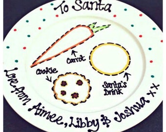 Christmas Eve plate, santa plate, Father Christmas plate, christmas plate, santas treat plate, mince pie plate, rudolph plate, christmas,