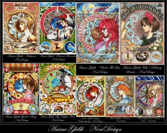 Anime Ghibli - large package, 18 aida count, cross stitch pattern, cross stitch anime, cross stitch , - PDF pattern, instant download!