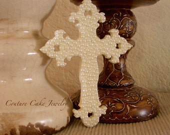 "6"" Tall Pearl Cross Cake Topper"