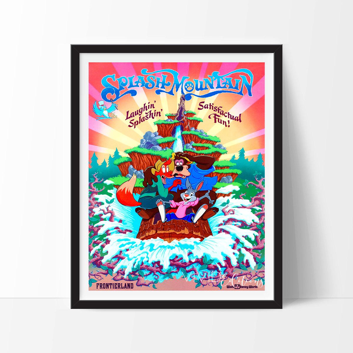 Disneyland Poster Vintage Splash Mountain Disney World