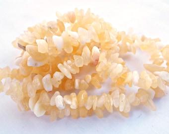 Aragonite Chips, Natural Aragonite, 33 Inch Strand, Aragonite Beads, Yellow Gemstone, Natural Gemstone, Jewelry Making, UK Seller