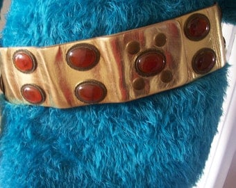 Amazing Wide Gold Leather/Amber Stone Hip Belt