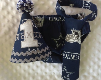 Boys Cake Smash Outfit - Dallas Cowboys - Diaper Cover, Tie & Birthday Hat - Birthday Set - NFL - All Teams Available