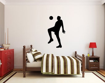 "Soccer Player Wall Decal - 40"" x 22"" Soccer Player Silhouette Vinyl Decal - Soccer Player 13"