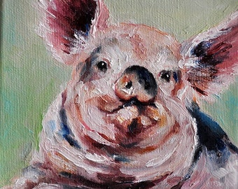 Original Impressionist Pig Oil Painting, Cute Animal Portrait, Pig Art 6x6 Inch