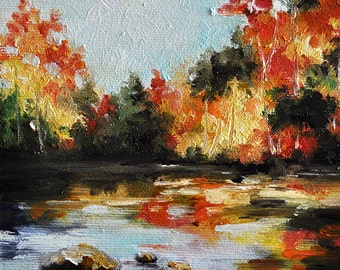 Original Autumn Landscape Painting, Colorful Impressionist Autumn Trees 6x6 Inch, Framed and Ready To Hang, Free Frame
