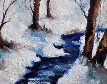 Original Oil Painting, Impressionist Winter Landscape, Frozen Winter River 5x7 Inch