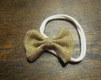 Burlap bow headband(0-5yrs